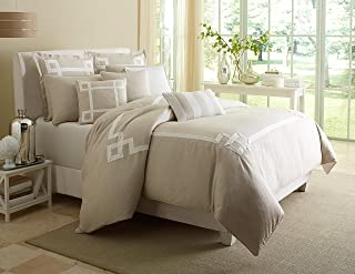 Michael Amini 10 Piece Avenue A Comforter Set, King, Tan/Beige/Off-White