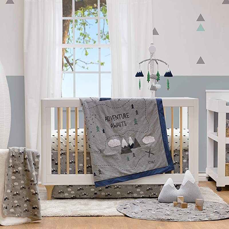 Lolli Living 4 Piece Baby Bedding Crib Set With Peaks Pattern Complete Set With Quilt 2 Fitted Sheets And Bed Skirt