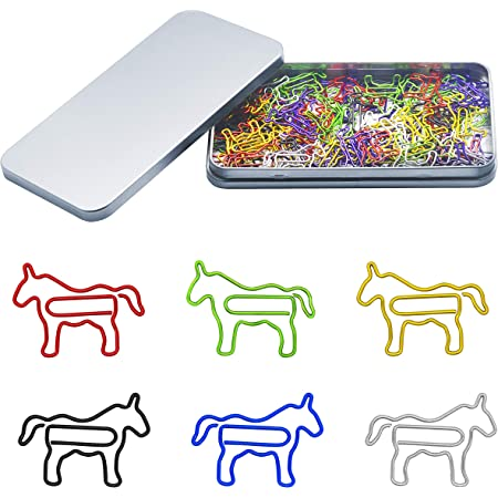 80 Pcs Adorable Horse Animal Shaped Paper Memo Clips Bookmark Assorted Colors In