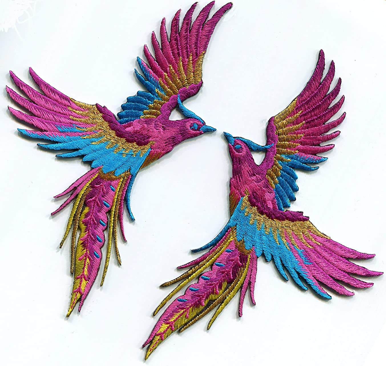 Phoenix phenix birds magenta blue gold embroidered appliques iron-on patches pair S-1330