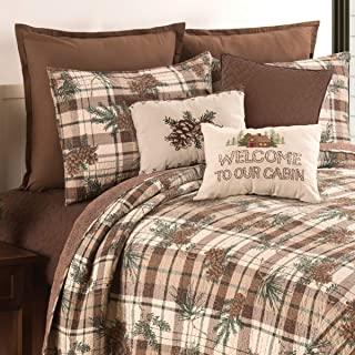 C&F Home Lookout Lodge Pinecone King Reversible Cotton Quilt Set King 3 Piece Set Brown