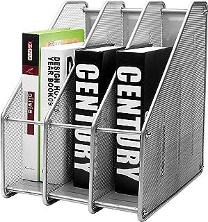 EXERZ Revistero archivador triple de malla metálica/Archivadores de revistas/Estante para escritorio- 3 Compartimentos para Organizador Archivo Documento/Cuadernos/Carpetas (Plata)