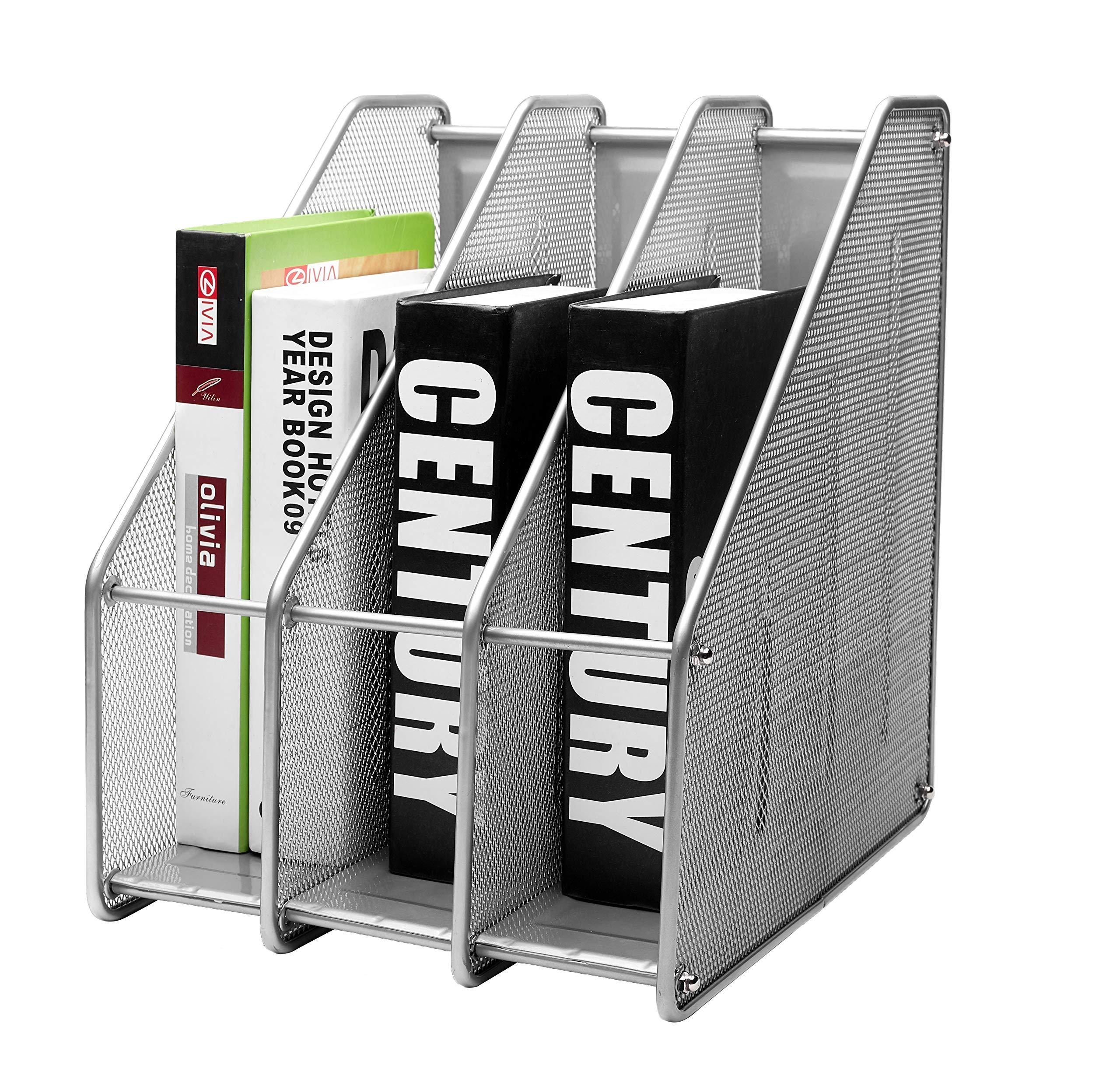 EXERZ Revistero archivador triple de malla metálica/Archivadores de revistas/Estante para escritorio- 3 Compartimentos para Organizador Archivo Documento/Cuadernos/Carpetas (Plata): Amazon.es: Oficina y papelería