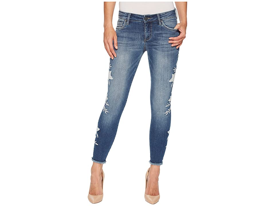 KUT from the Kloth Connie Ankle Skinny Floral Applique in International (International/Medium Base Wash) Women's Jeans