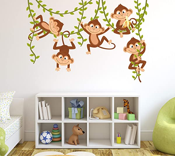 猴子墙贴花幼儿园墙壁装饰男孩丛林婴儿房壁画艺术装饰乙烯基贴纸 60 W X 40 H