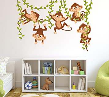 "Amazon.com: Monkey Wall Decal Nursery Wall Decor Boy Jungle Baby Room Mural Art Decor Vinyl Sticker (60""W X 40""H): Baby"