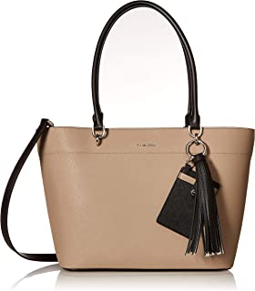 Calvin Klein Susan Saffiano Leather Tote with Card Case Hanger
