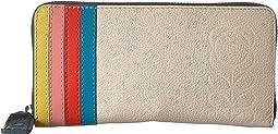 Embossed Flower Leather Big Zip Wallet