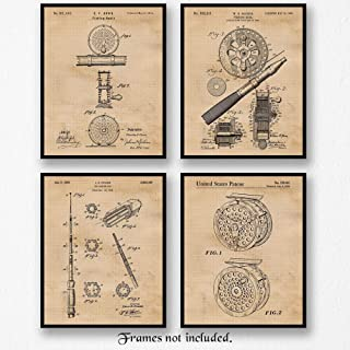 Original Fishing Rod Patent Poster Prints, Set of 4 (8x10) Unframed Photos- Great Wall Art Decor Gifts Under 20 for Home, Office, Garage, Man Cave, Shop, Student, Teacher, Park Ranger, Fish & Camp Fan