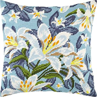 White Lilies. Cross Stitch Kit. Throw Pillow 16×16 Inches. Printed Tapestry Canvas, European Quality