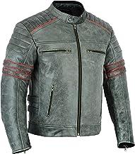 LeatherTeknik Chaqueta de piel para motocicleta para hombre con armadura de bicicleta transpirable negra perforada chaqueta de motociclista negro LJ-3027A