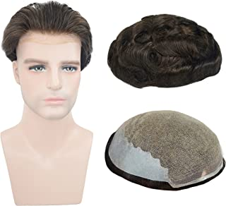 European Virgin Human Hair Toupee For Men, Veer 8x10inch Soft French Lace Cap Base with 2inch Clearly PU in Back Men's Hairpiece Replacement System Natural Wave Dark Brown Color(#2)