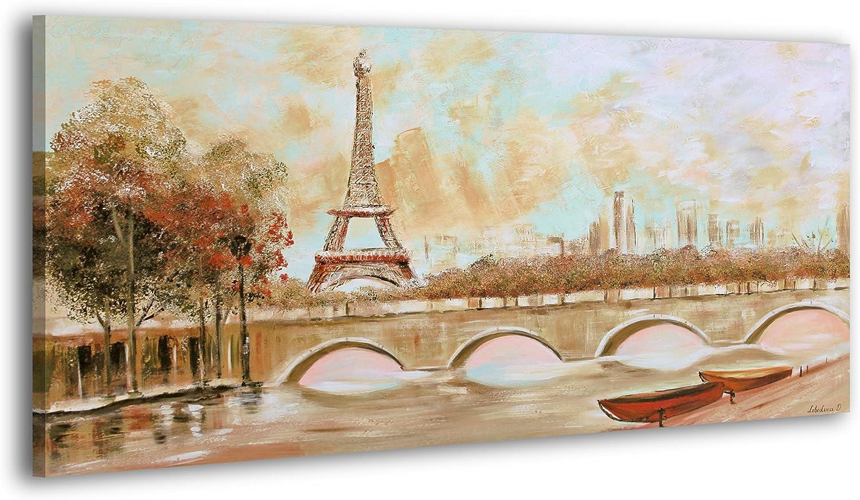 YS-Art Acryl Gemälde Gemälde Gemälde Stille in der Stadt   Handgemalt   130x70cm   Wand Bild   Moderne Kunst   Leinwand   Unikat   Braun B01K24BTVW 19f9a6
