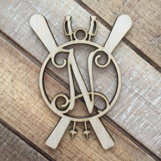 Monogram Skiing Christmas Ornament - Skiing Ornament - Personalized Skier Ornament - Skis and Poles Initial Ornament - Gift for Skier