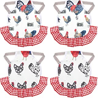 Standard Chicken Saddle Hen Apron Feather Fixer Easy Elastic-Strap-On Aprons Wing Back Protector for Poultry Back Wing Protection (4 Pieces)
