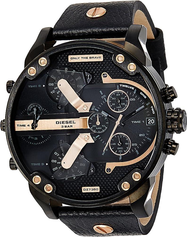 Diesel orologio cronografo da uomo con cassa in lega di acciaio e cinturino in vera pelle DZ7350