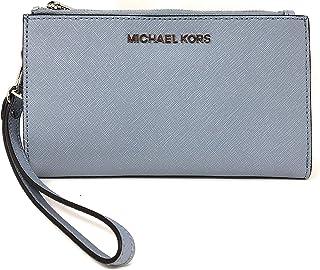 89df7d6206ab Michael Kors Jet Set Travel Double Zip Saffiano Leather Wristlet Wallet in  Pale Blue