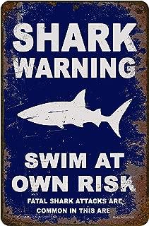 Funny HAHA USA Shark Warning Sign Swim at Own Risk Metal 7.75 x 11.75 Funny Sign