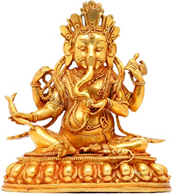 Seated Ganesha with Radish - Copper Sculpture Gilded with 24 Karat Gold