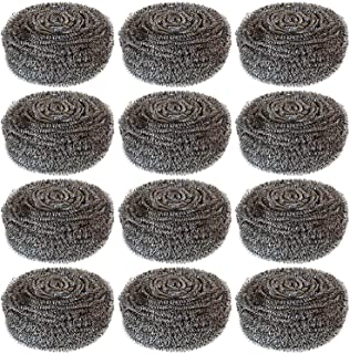 Hulless 12 Pcs Stainless Steel Sponges Scrubbers Extra Large Utensil Scrubber (2 oz Each) Metal Scouring Pads Stainless Steel Sponges Scourer Pot Brush,Kitchen Cooking Utensil Cleaning Tools,50g/pcs.