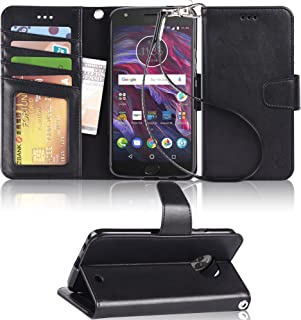 Arae Moto X4 Case, Flip Folio [Kickstand Feature] PU Leather Wallet case with [4 Slot] ID&Credit Cards Pocket for Moto X4 [not for Z4] - Black