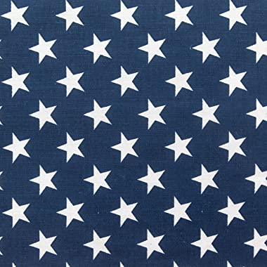 The Fabric Exchange Stars Print Poly Cotton 60 Inch Fabric by The Yard (Navy Blue)