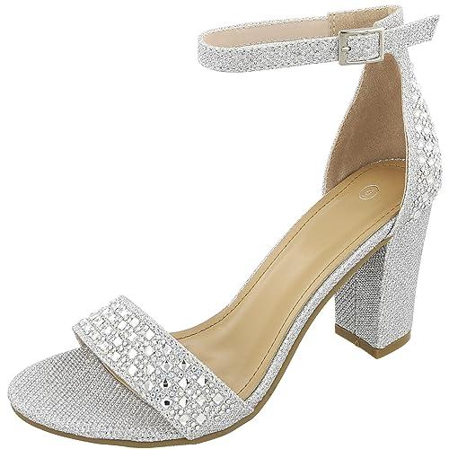3d7e814f5148e Cambridge Select Women s Open Toe Single Band Glitter Crystal Rhinestone  Chunky Block Heel Sandal