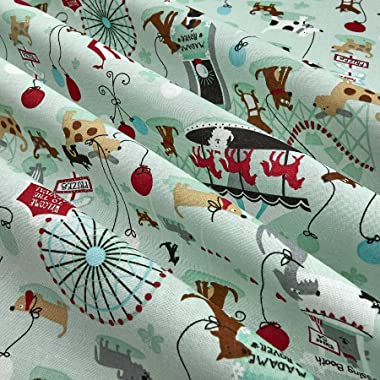 Santee Print Works Kid's Choice Dog Playtime Mint Fabric by the Yard