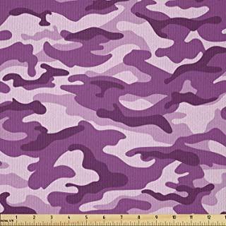 Ambesonne Fuchsia Fabric by The Yard, Camouflage Pattern in Exotic Tones Tropical Safari Effect Artwork, Microfiber Fabric...