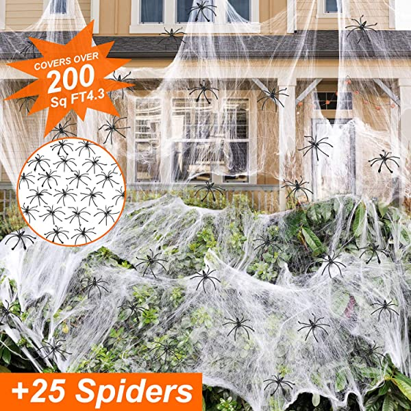 Halloween Stretch Spider Web With 25 Spiders For Indoor And Outdoor Halloween Decorations