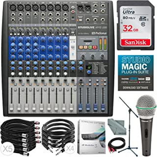 PreSonus StudioLive AR12 USB 14-Channel Hybrid Performance and Recording Mixer & Deluxe Accessory Bundle w/Samson Q6 Mic + Mic Boom Stand + Xpix Pro Cables + More