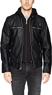 GUESS Men's Faux Leather Hooded Moto Jacket, black, L