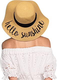 Hatsandscarf CC Exclusives Straw Embroidered Lettering Floppy Brim Sun Hat (ST-2017)