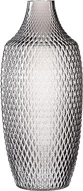 Leonardo Poesia Boden-Vase, handgefertigte Deko-Vase in Grau, ovale Blumen-Vase aus Glas, Tisch-Dekoration mit Relief-Optik,