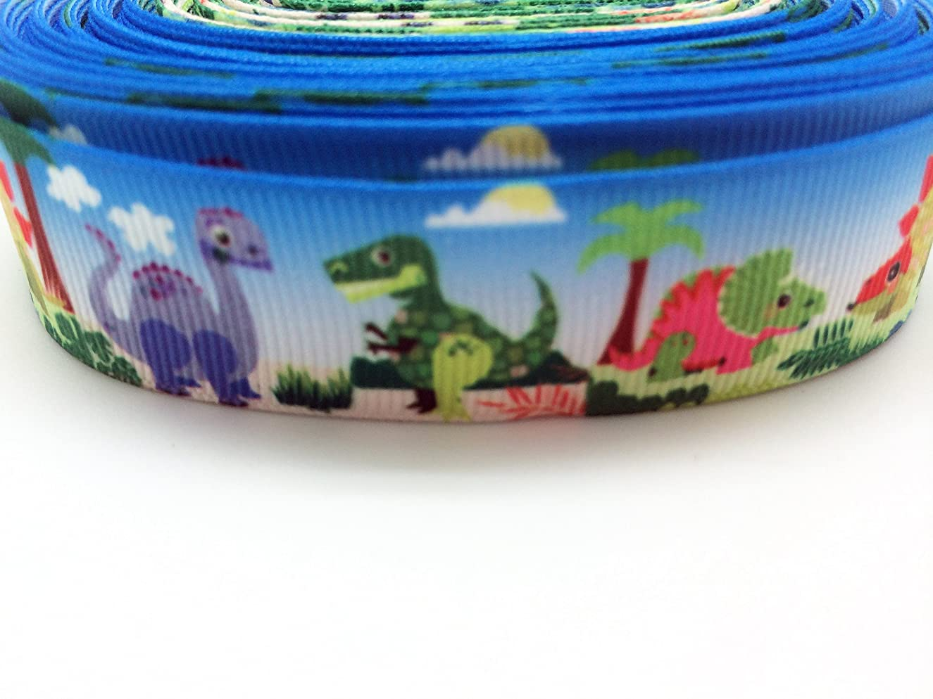 PEPPERLONELY Brand 10 Yards 22mm (7/8 Inch) Dinosaur Grosgrain Ribbon