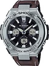 Casio G-Shock Steel Black Dial Leather Strap Men's Watch GST-S130L-1A