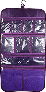 Premium Hanging Nylon Cosmetic Bag - Toiletry & Accessory Storage Organizer Bag (Purple)