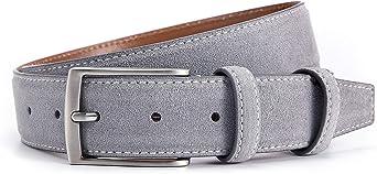 男性のための余分な厚さのスエードレザーベルトカジュアルジーンズ&ドレスベルト34 mm幅