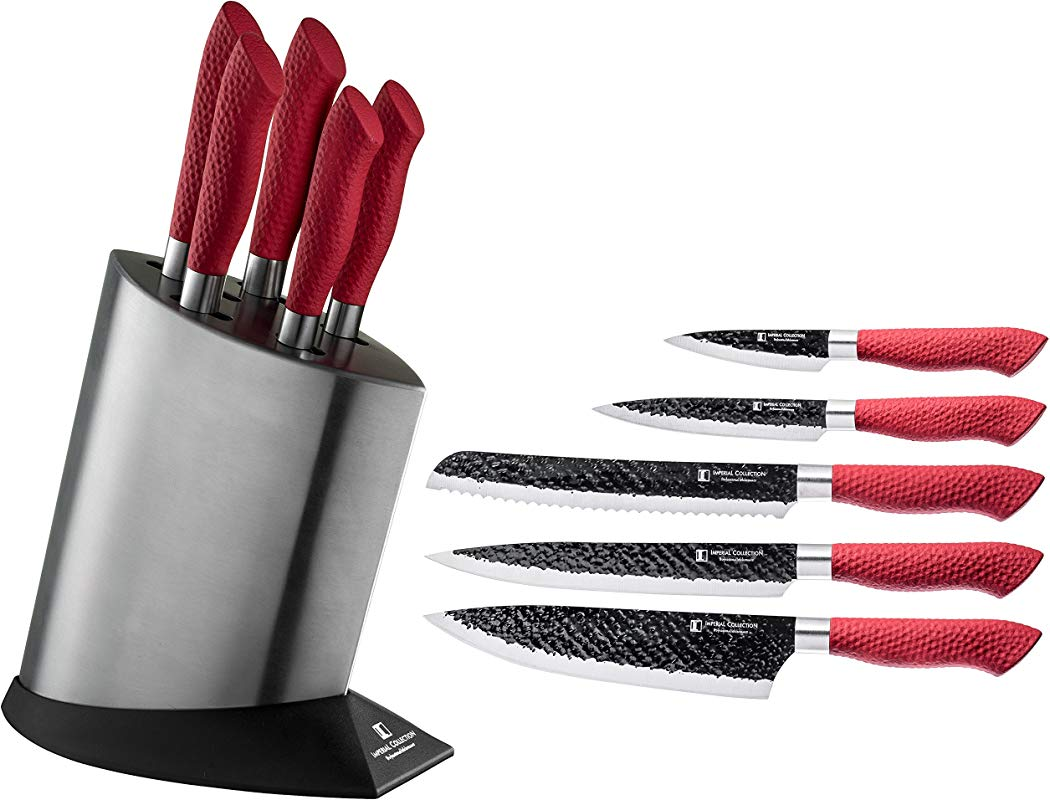 Imperial Collection IM KST10 RED Stainless Steel Kitchen Cutlery Knife Set With Knife Block And Embossed Non Stick Coating 6 Piece Red