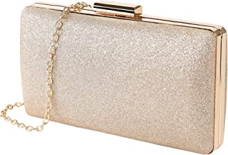 Women Clutch Bag Elegant Glitter Evening Purse Sparkly Formal Bridal Prom Handbag for Cocktail Party Wedding Vacation, With Chain Shoulder Strap, Gold