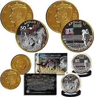 Apollo 11 50th Anniversary 1st Man on Moon JFK 100 BDAY 24K Gold Clad 2-Coin Set