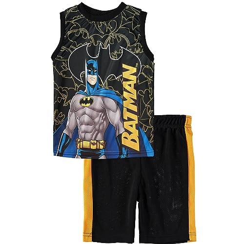 1c3fa6410e12e Superhero Boys  Batman Superman Spiderman Tank Top Short Set