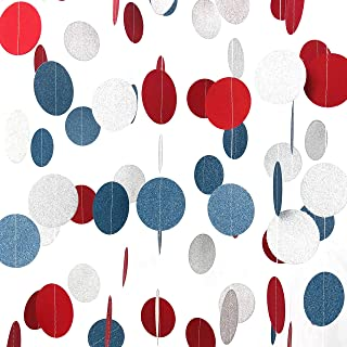 4th of July Independence Day Party Hanging Garlands National Day Patriotic American Theme Birthday Party Baby Shower Red Blue White Streamers Ceiling Hangings Decorations, 26ft