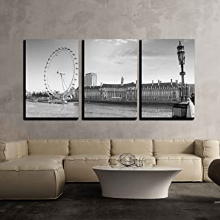 wall26-3 Piece Canvas Wall Art - View The London Aquarium and The London Eye from Westminster Bridge. - Modern Home Decor Stretched and Framed Ready to Hang - 24