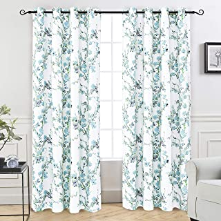 DriftAway Blossom Abstract Floral Botanic Thermal Room Darkening Grommet Lined Window Curtains 2 Layer Set of 2 Panels Each Size 52 Inch by 84 Inch Blue