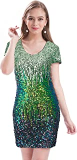 Women's Sequin Glitter Short Sleeve Dress Sexy V Neck Mini Party Club Bodycon Dresses