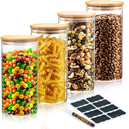 Deco Haus Set 4 1400ml Tarros de Cristal Reutilizables Tapa Bambú - Herméticos, Aptos Lavavajillas y Microondas - Contenedor para Galletas, Pasta, Comida Seca, Cereales - Alto 20cm Diámetro 10cm