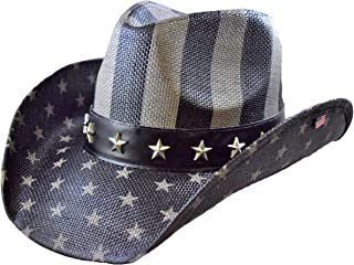 Bundle USA Vintage American Flag Cowboy Hat and Embroidered Iron On Flag Patch