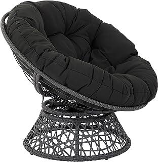 OSP Home Furnishings Papasan Chair with 360-degree Swivel, Black Cushion Frame