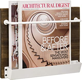 MyGift Wall-Mounted Rustic Burnt Wood and White Metal Magazine and Newspaper Holder